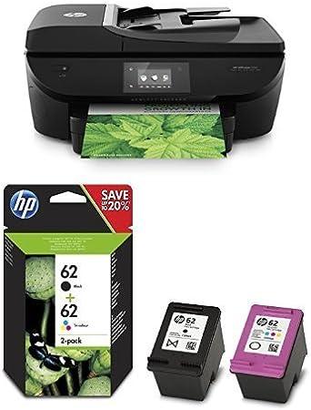 HP OfficeJet 5740 Pack - Impresora multifunción de tinta + Pack de ahorro de 2 cartuchos de tinta original, negro y tricolor (cian, magenta y amarillo) (62): Amazon.es: Informática