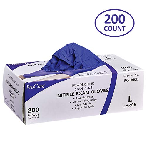 ProCure Disposable Nitrile Gloves - Powder Free, Rubber Latex Free, Medical Exam Grade, Non Sterile, Ambidextrous - Soft with Textured Tips - Cool Blue (Large, 1 Pack, 200 Count)