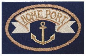 Door Mats Outdoor Rugs Kitchen Rugs Nautical Decor Doormat Hooked Rug Look 2 ft. x 3 ft. Anchor (Cape Cod Door Mats Patio)