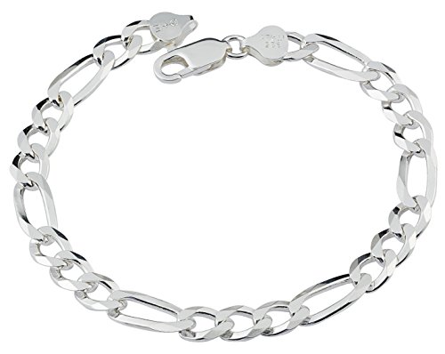 (D Jewelry 925 Sterling Silver Solid Flat Figaro Chain Bracelet Gauge 200 Made in Italy (8 Inches))