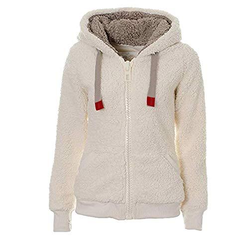 (Women Warm Fuzzy Coat Faux Fleece Wool Hoodie Sherpa Jacket Zip Up Outerwear Top(White,Small))