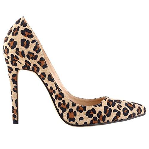 Dedo Bombas del Baja Zapatos Pie para Moda Xianshu Leopardo Cerrado Mujer Tacón de Alto Boca wxYBARHFnq