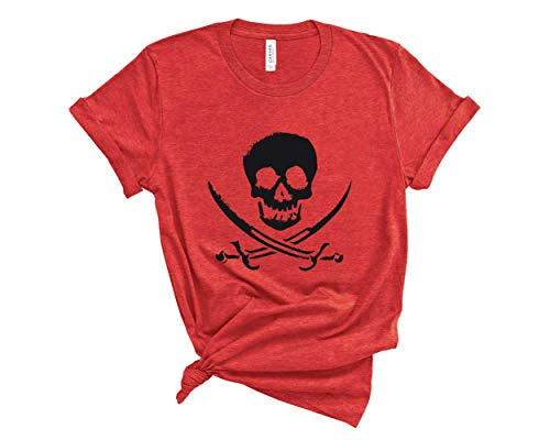 Blue Sand Textiles Pirate Shirt. Skull T-Shirt. Soft & Comfy Unisex Pirate Tee. Gasparilla Shirt. (Heather Red, Medium)