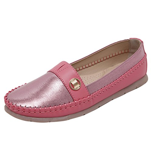 Binying Women's Casual Metal Slip on Flat Pumps Red