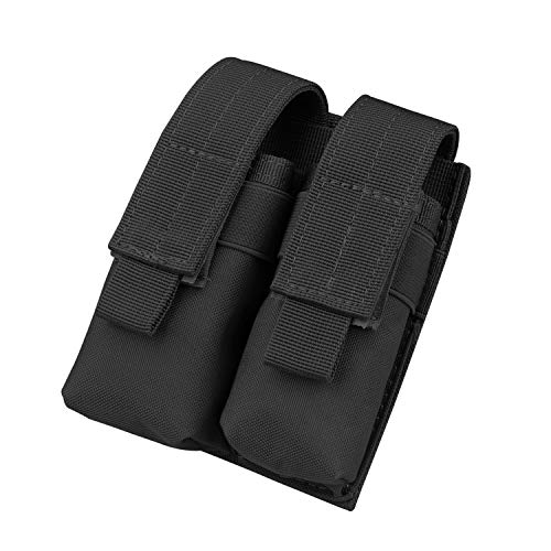 Kosibate Tactical Molle Dual Double Pistol 9mm Mag Magazine Pouch Close Holster - Black