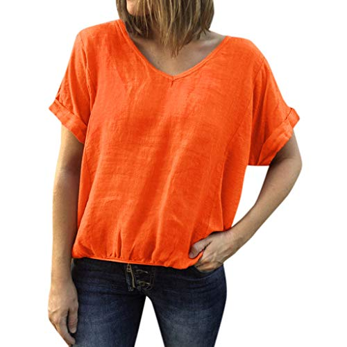 Orange Plus Size T-Shirt for Women Casual Loose Solid Color Blouses Summer V-Neck Short Sleeve Shirt Splice Tank Tops S-5XL