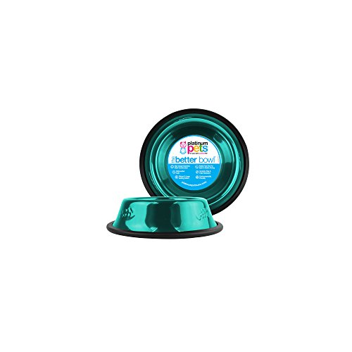 - Platinum Pets Non-tip Stainless Steel Cat Bowl, 6 oz, Teal