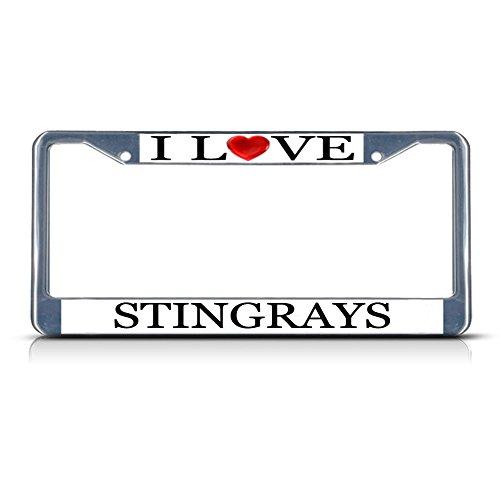 Sign Destination Metal License Plate Frame Solid Insert I Love Heart Stingrays Car Auto Tag Holder - Chrome 2 Holes, One Frame