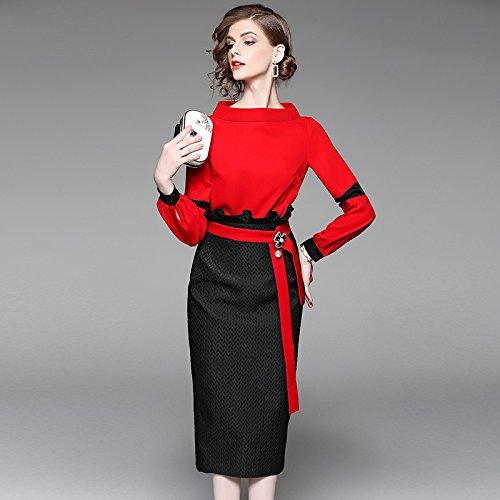 ZHUDJ Las Dos Piezas _ Otoño Conjunto Vestido Femenino De Dos Piezas Camisa Roja Marea Hip Bag gules