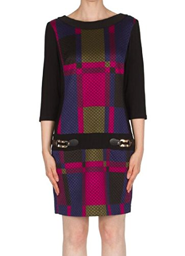 Joseph Ribkoff Quilted Drop Waist Color Block Dress Style