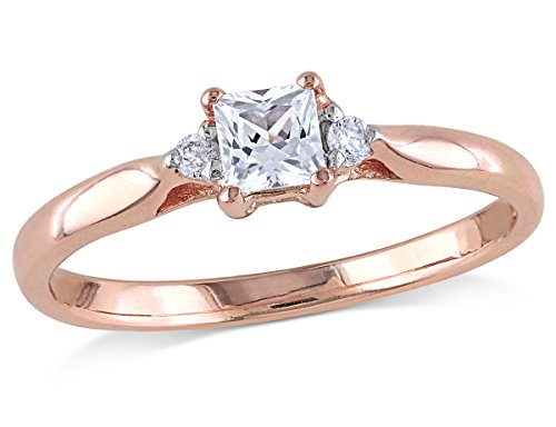 Princess Cut Created White Sapphire 1/4 Carat (ctw) Promise Ring with Diamonds in Rose Plated Sterling Silver ()