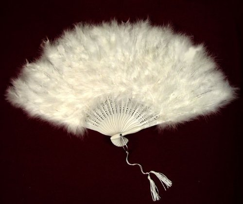SACAS Large White Feather Hand Fan for costume, halloween, party, dance