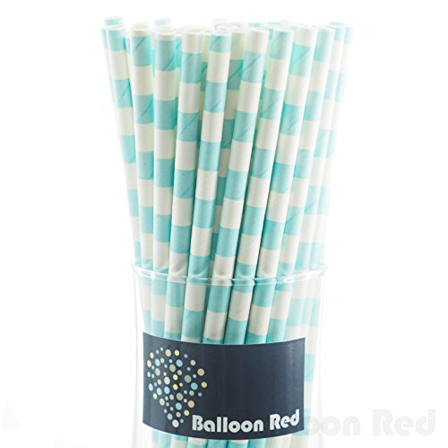Easy Homemade Food Costumes (Biodegradable Paper Drinking Straws (Premium Quality), Pack of 50, H. Striped - Pastel Blue)