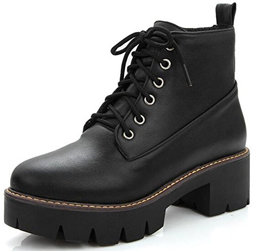 Summerwhisper Women's Trendy Round Toe Platform Side Zipper Biker Booties Lace-up Block Mid Heel Short Boots Black 8 B(M) US (Side Platform Zipper)