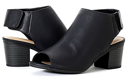 Booties Cutout Black S Pu Leatherette Women's Harlyn Soda Peep Toe T04P6wnq