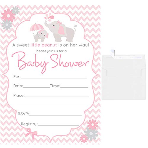 50 Fill in Blank Baby Shower Invitations Elephant with White Envelopes (Pink)