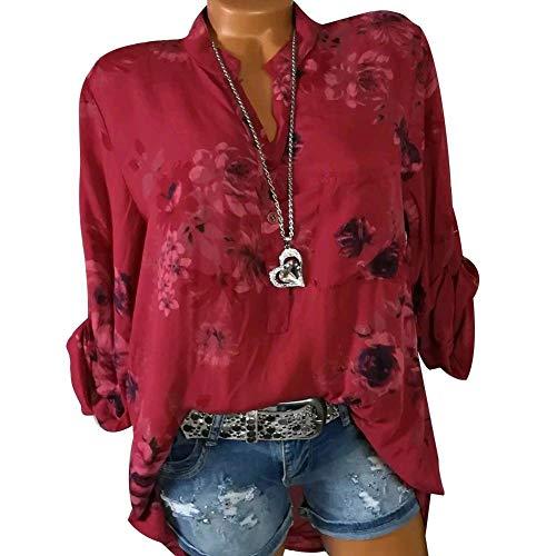 iBaste en Manches Haut Imprime Manches Chemise Chemise Col pour S Rouge Femme Longues V la Mode rHqrR