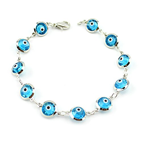 Nazar Evil Eye (Turkish Blue Evil Eye Beads Bracelet Crystal Women Jewelry Turkey Chain Kabbalah)