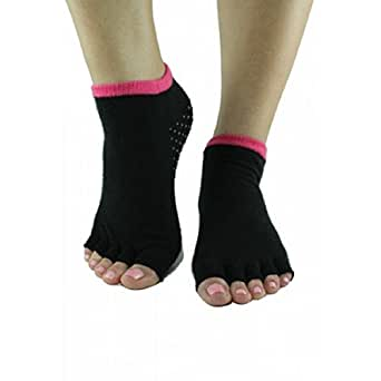 Toezies The Original 1/2 Toe Socks for Yoga/Pilates Pink and Black (Small / Medium)