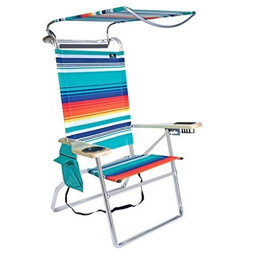 Deluxe 4 Position High Aluminum Beach Chair with Canopy Shade and Storage - Sleeves Canopy