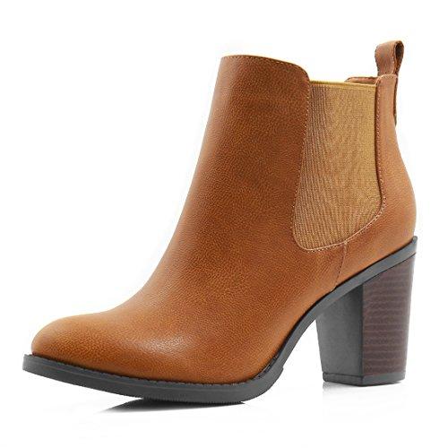 Brown Leather High Heel Boot (Allegra K Women Stacked High Heel Ankle Booties Chelsea Boot Brown (Size US)