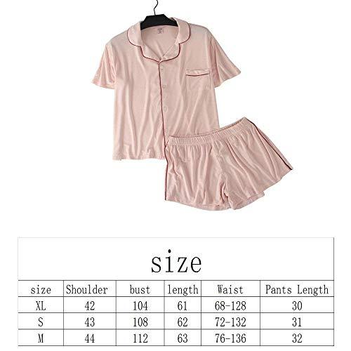 Ocasional Camison Clásico Pijama Respirable Pijamas El Hogar Mujer Elegantes De Corta Dormir Anchos Solapa Mujeres Conjunto Pink Verano Manga Ropa Hipster Para qxBOq8H7