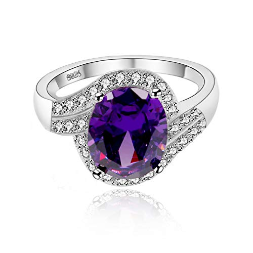 (Uloveido Women Platinum Plated Simulated Purple Oval Amethyst February Birth Stone Solitaire Engagement Wedding Rings Dainty (Size 7) J334)