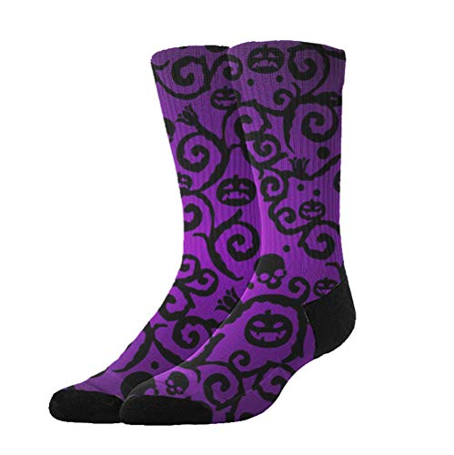 WONDERMAKE Womens Compression Socks Fashion Casual Comfy Breathable Soft Socks High Ankle Cotton Stockings Outdoor Activities Happy Halloween Purple Pumpkin Crew Sock ()