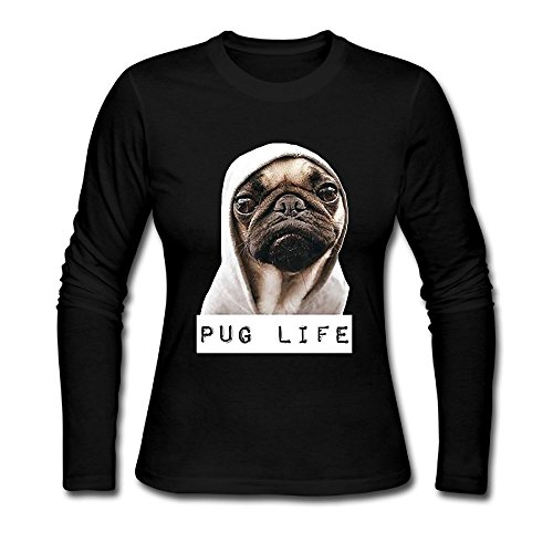 Pug Life Women's Soft Long Sleeve Round Neck Pullover Sweatshirt Pullover Shirt Tops