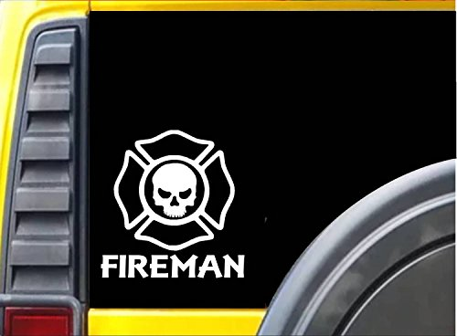 Fireman Skull K329 6 inch decal Maltese cross sticker
