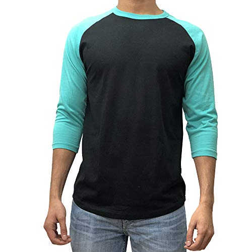 KANGORA Men's Plain Raglan Baseball Tee T-Shirt Unisex 3/4 Sleeve Casual Athletic Performance Jersey Shirt (24+ Colors) (Black Turquoise, XX-Large)