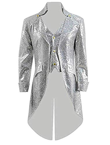 Men's Silver Sequins Tailcoat Jacket Single Breasted Gothic Blazer Tuxedo Coat Halloween Costume Silver 42/36]()