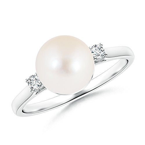 Mother's Day Offer - Ball Shaped Freshwater Cultured Pearl Solitaire Ring with Diamond Accents in 14K White Gold (8mm Freshwater Cultured Pearl) by Angara.com
