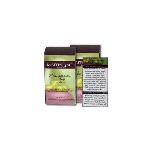 Maithong Mangosteen Soap Anti-oxidant Natural Herbal Size 100 G (3.53 Oz.) X 2 Boxes by molona