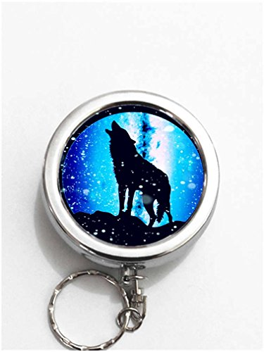 RainbowSky Howling Wolf Under Moon Mini Portable Pocket Purse Ashtray Keychain with Cigarette Holder -250