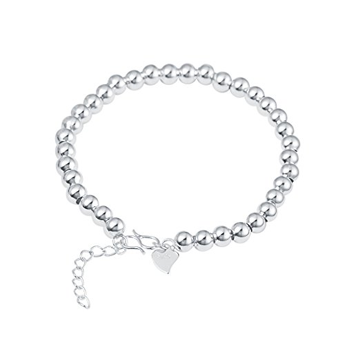 Best Of British Party Costume Ideas - Real Spark 925 Sterling Silver Beaded Strand Round Link Chain Wedding Bracelet