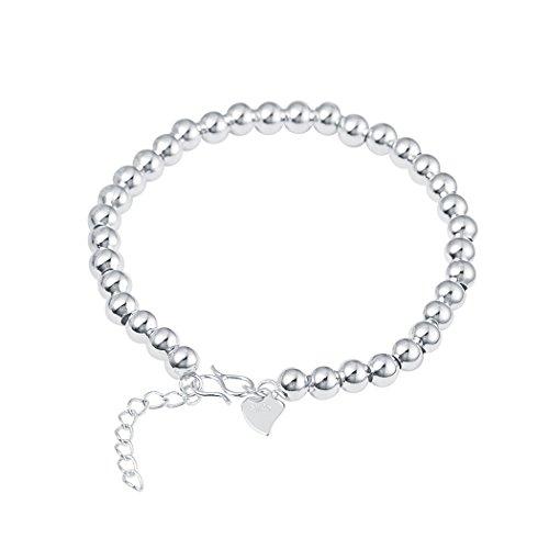 Alphabet Fancy Dress Costume Ideas (Real Spark 925 Sterling Silver Beaded Strand Round Link Chain Wedding Bracelet)