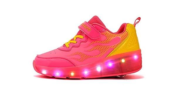 Mr.ANG luces LED parpadeantes Roller Skates – Zapatos de deporte Niños Chicos Y Chicas – Zapatos de Skate con los zapatos de Skate Ont una rueda zapatillas de running, K06, K06 noir