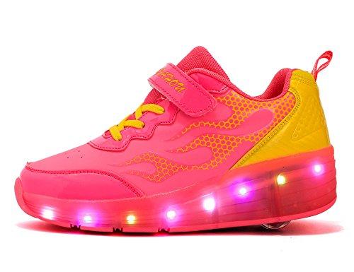 Mr.Ang con luces LED coloridos parpadeante neutra ruedas de patines de rueda patín zapatos Zapatos del patín zapatos deportivos niños y niñas de calzado deportivo zapatos de skate Rosa Amarillo