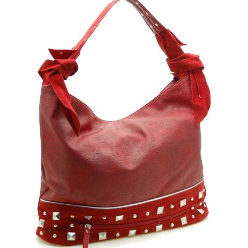 Dasein Designer inspired hobo bag with studs -Burgundy Red (Stud Hobo Purse)