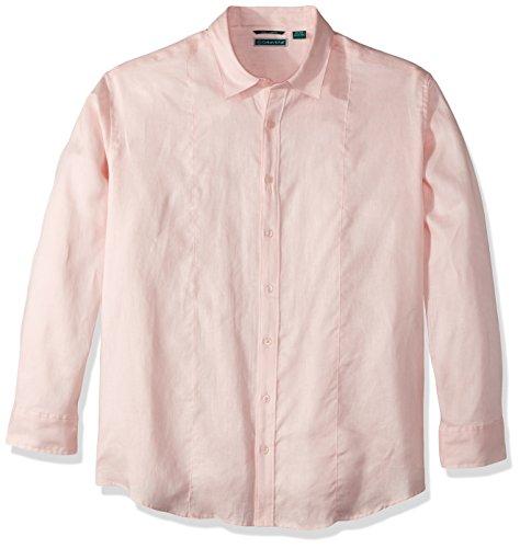 Cubavera Men's Tall Long Sleeve 100% Linen Essential Shirt Pintuck Detail, Pink Dogwood, 3X-Large -