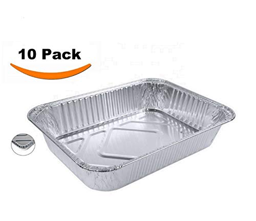 Aluminum Foil Pans - Set of 10 Pack, Disposable Steam Table Grill Drip Deep Trays, Meal Cooking, Baking, Roasting, Broiling, Heating Buffet Trays Tin Pans. Half Size Chafing Pans 8.5 X 6 X 1.5 inch