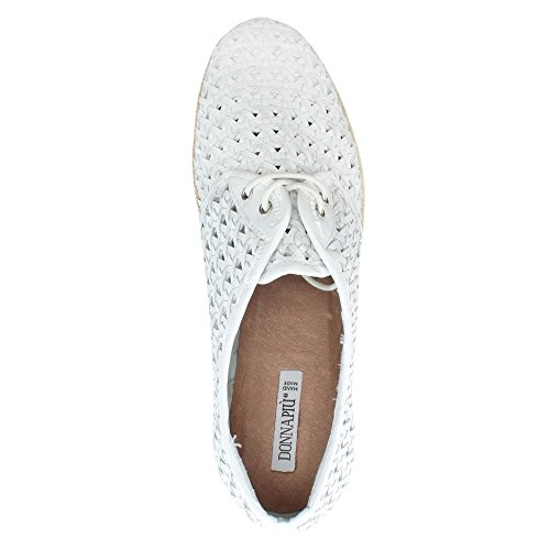 In Espadrillas White Pelle Piu Donna Pizzo Tessuto Flatform Leather Bianca Shirlington xFtx81wqZ