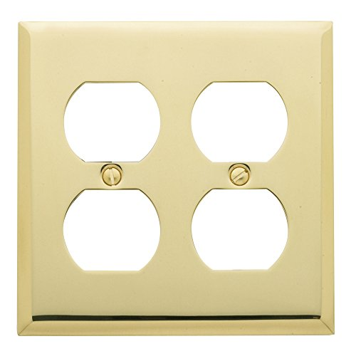Baldwin Duplex Switchplate - Baldwin Estate 4771.030.CD Square Beveled Edge Double Duplex Wall Plate in Polished Brass, 4.5