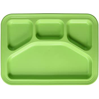 Green Eats Divided Tray Green  sc 1 st  Amazon.com & Amazon.com | Stainless Steel Rectangular Divided Dinner Tray 5 ...