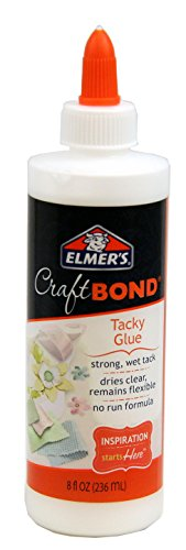 Fabric Dries Clear Adhesive (Elmer's Craft Bond Tacky Glue, 8-Ounce, Clear)