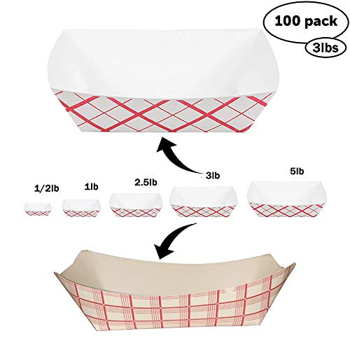 Disposable Paper Food Tray 3Lb Heavy Duty, Grease Resistant 100 Pack. Durable, Coated Paper Food Basket for Fairs, Concession Stands & Food Trucks. Holds Treats Like Hot Dogs, Fries, Nachos and Tacos! ()