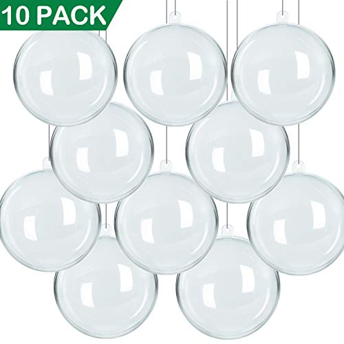 NEWBEA 10 Pack 100mm Plastic Clear Fillable Christmas OrnamentsDIY Acrylic Ornament Balls for Christmas Tree Decorations/Christmas Party Favor/Wedding Decor
