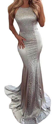 Dresses Cromoncent Women Sequins Bodycon Backless Maxi Silvery Cocktail Halter Wedding Gown rpOfqrw