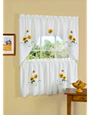 Achim Home Furnishings SSTS36YL12 Sunshine Tier and Swag Set, 58-Inch by 36-Inch, Ivory/Cream